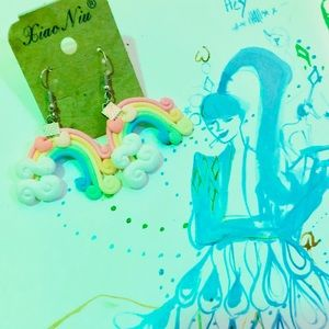 Pastel Rainbow Heart Earrings Cute Kawaii